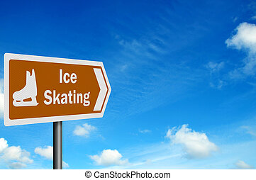 Tourist Information series: 'Ice Skating' sign, with space...