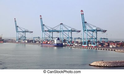 cargo ships in sea freight dock with cranes