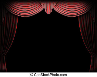 Red velvet curtain made in 3d