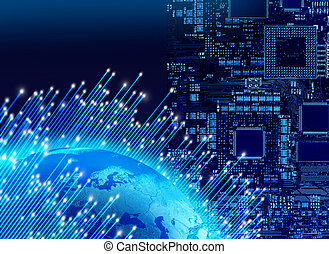 Global digital technology concep - Optical fibres around...