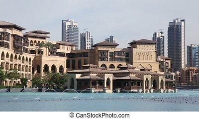 Dubai, fountain, buildings