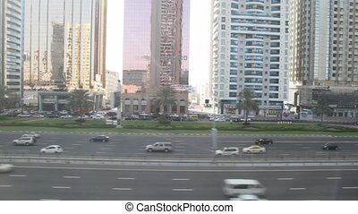 The Sheikh Zayed Road from window of monorail train in...