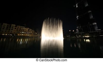 General view on amazing fountain near Burj Dubai in Dubai,...