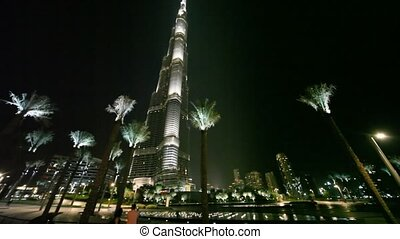 Burj Dubai at night, with illumination - DUBAI - APRIL 17:...
