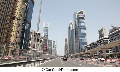 General view on Sheikh zayed road and skyscrapers in Dubai,...