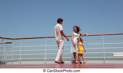 father comes to his wife and take daughter on hands - father...