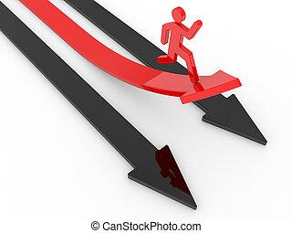 human run in a red arrow