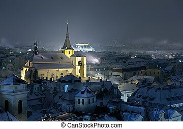 Prague at night. Winter