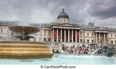 view of  National Gallery, Trafalgar Square with fountain