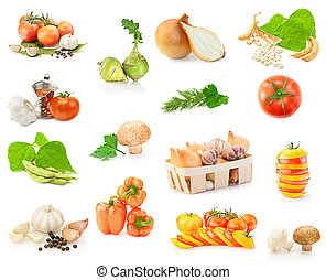Fresh vitamin background. Set of fresh vegetables