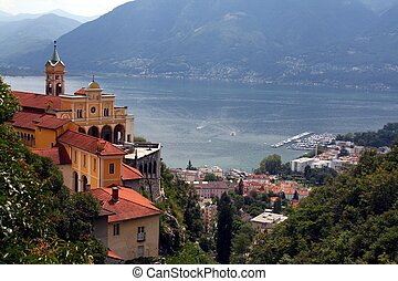Lago Maggiore Switzerland with Madone del Sasso - A View of...