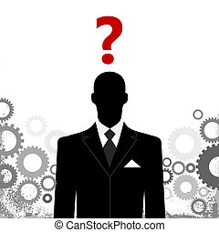abstract business background - business man with gears and...
