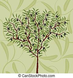 floreale, modello, oliva, albero