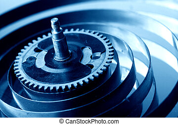 mechanical clock gear macro close up