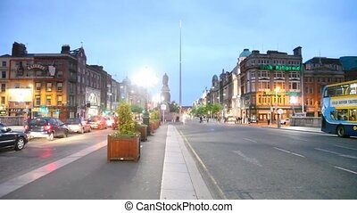 Evening Irish Nationwide Building Society on O'Connell Street in Dublin