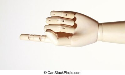 rotating wooden hand of mannikin with sticking out...