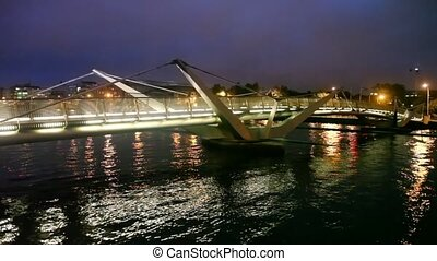 night Sean OCasey Bridge in Dublin, Ireland