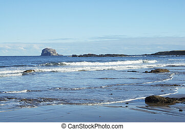Bass Rock and beach at North Berwick - view to Bass Rock...
