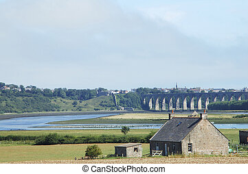 river and bridge towards Berwick upon Tweed scotland - river...