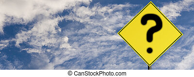 Road sign warning with question mark, on a cloudy sky...