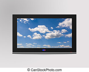 Television set - Modern flat television set with cloudscape...