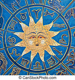 Sun constellation - Zodiac signs in circle with golden sun