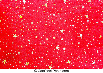 Stars textile - Christmas textile in red with golden stars