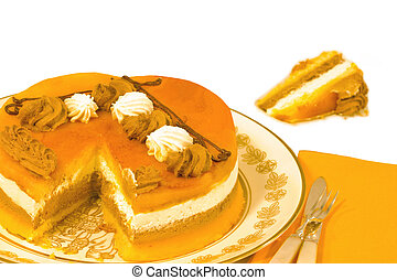Rich creamy cake and a slice to taste - Layers of cream,...