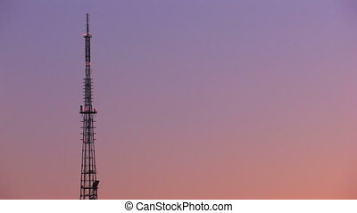 Television tower from sunset to night, timelapse, Canon XH...