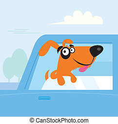 Brown dog travelling in blue car