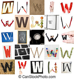 Collage of Letter W