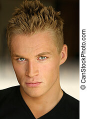 Male model - Portrait of a young good looking blond male...