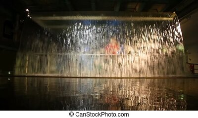 artificial waterfall indoor with illumination