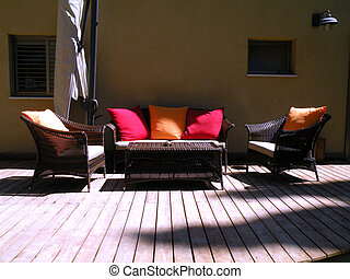 resting place in the yard two krsla table sofa and soft...