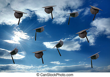 Student graduation hat over sunny sky