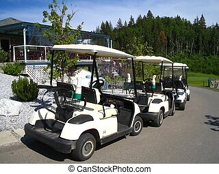 Parked golfing carts - White carts in a row.