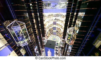 Main hall in Evropeisky Mall in Moscow, Russia. - MOSCOW -...