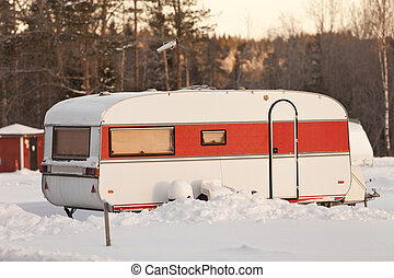 Mobile Home at wintertime
