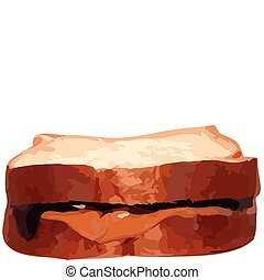 Vector Illustration Peanut Butter Jelly Sandwhich - Vector...