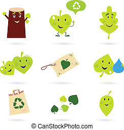 Leaf characters and nature icons