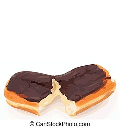 Bavarian Cream Chocolate Long Johns Color Vector...