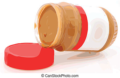 Creamy Peanut Butter Color Vector Illustration - Open jar of...