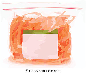 Color Vector Illustration of Grocery Food in Sealed Bag