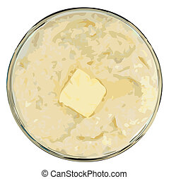 Grits and Butter Vector Illustration - grits with butter in...