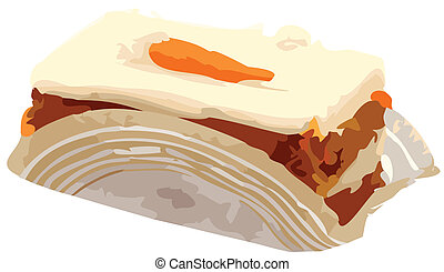 Carrot Cake Slice vector Illustration - Piece of carrot cake...