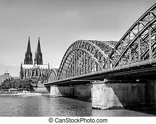Koeln - View of the city of Koeln (Cologne) in Germany -...