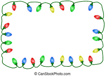 Christmas lights illustrated on a white background,...