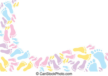 Colourful footprint Background - Colourful footprints on a...
