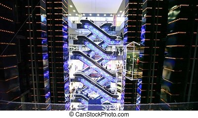 Travolators and elevators in Evropeisky Mall - MOSCOW -...