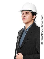 Senior architect isolated on a white background